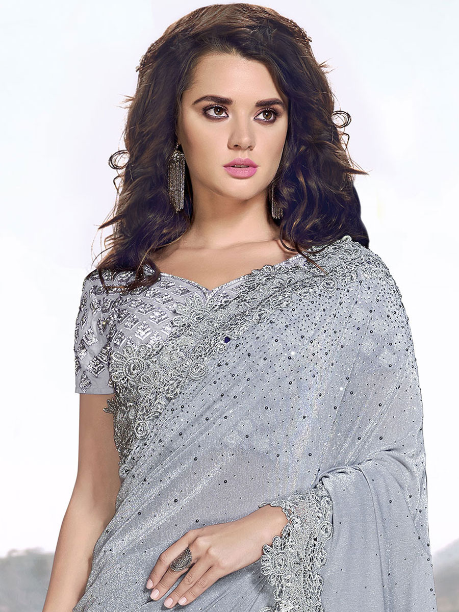 Light Gray Silk and Net Embroidered Party Saree