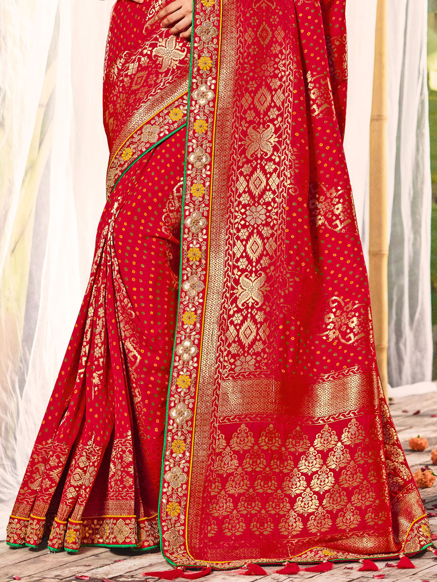Rose Madder Red Silk Embroidered Festival Saree
