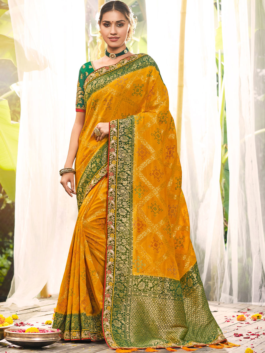 Mustard Yellow Silk Embroidered Festival Saree
