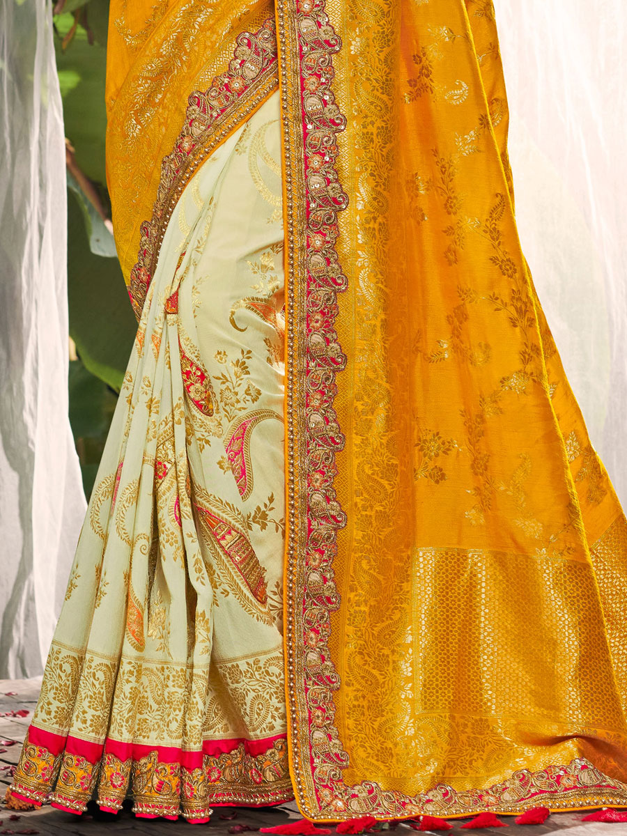 Mustard Yellow and Cream Yellow Silk Embroidered Festival Saree