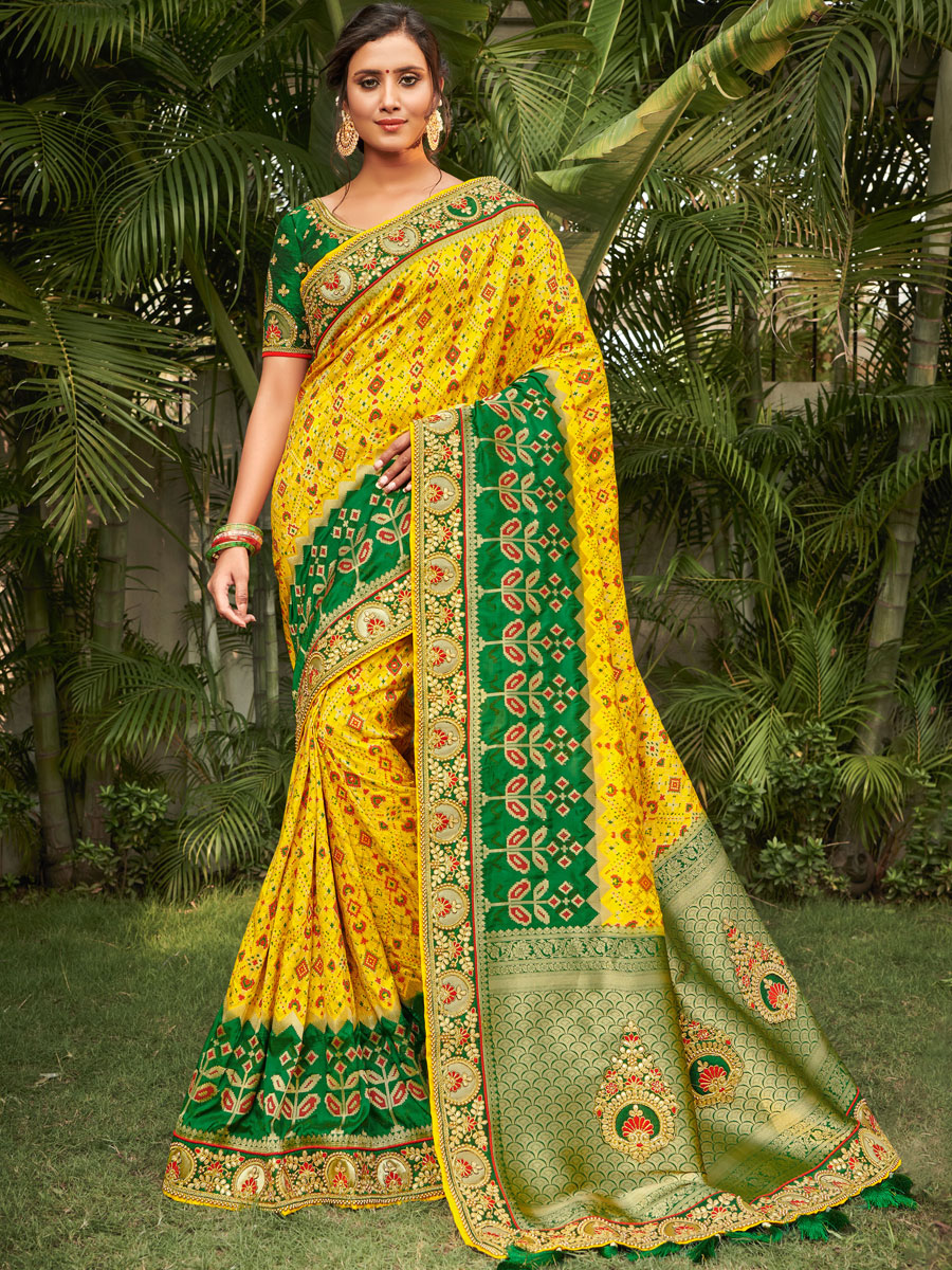 Maize Yellow and Dark Green Silk Embroidered Festival Saree
