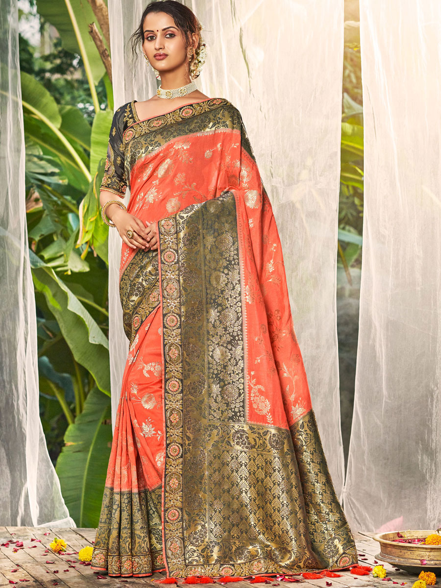 Coral Pink and Gray Silk Embroidered Festival Saree