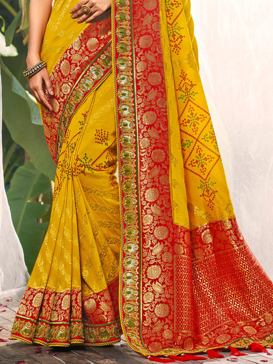 Mustard Yellow and Rose Madder Red Silk Embroidered Festival Saree