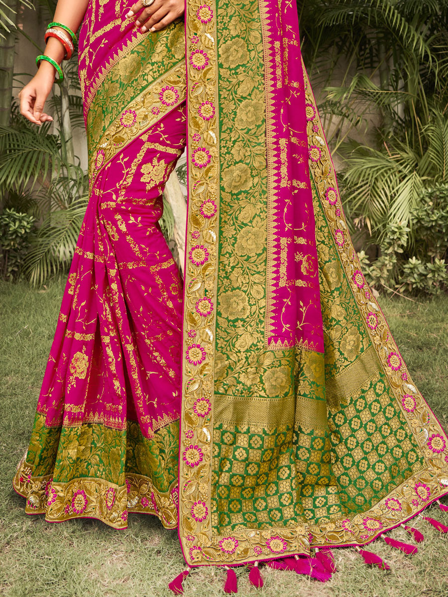 Magenta Pink and Dark Green Silk Embroidered Festival Saree
