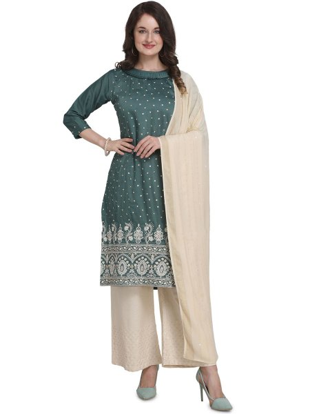 Viridian Green Cotton Embroidered Party Palazzo Pant Kameez