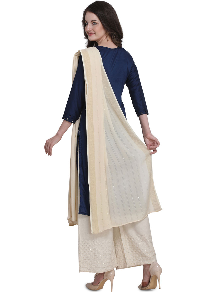 Navy Blue Cotton Embroidered Party Palazzo Pant Kameez