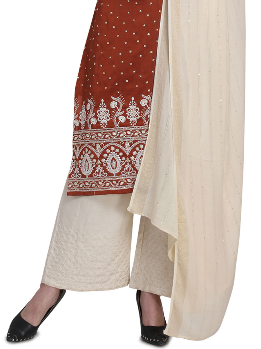 Sienna Brown Cotton Embroidered Party Palazzo Pant Kameez