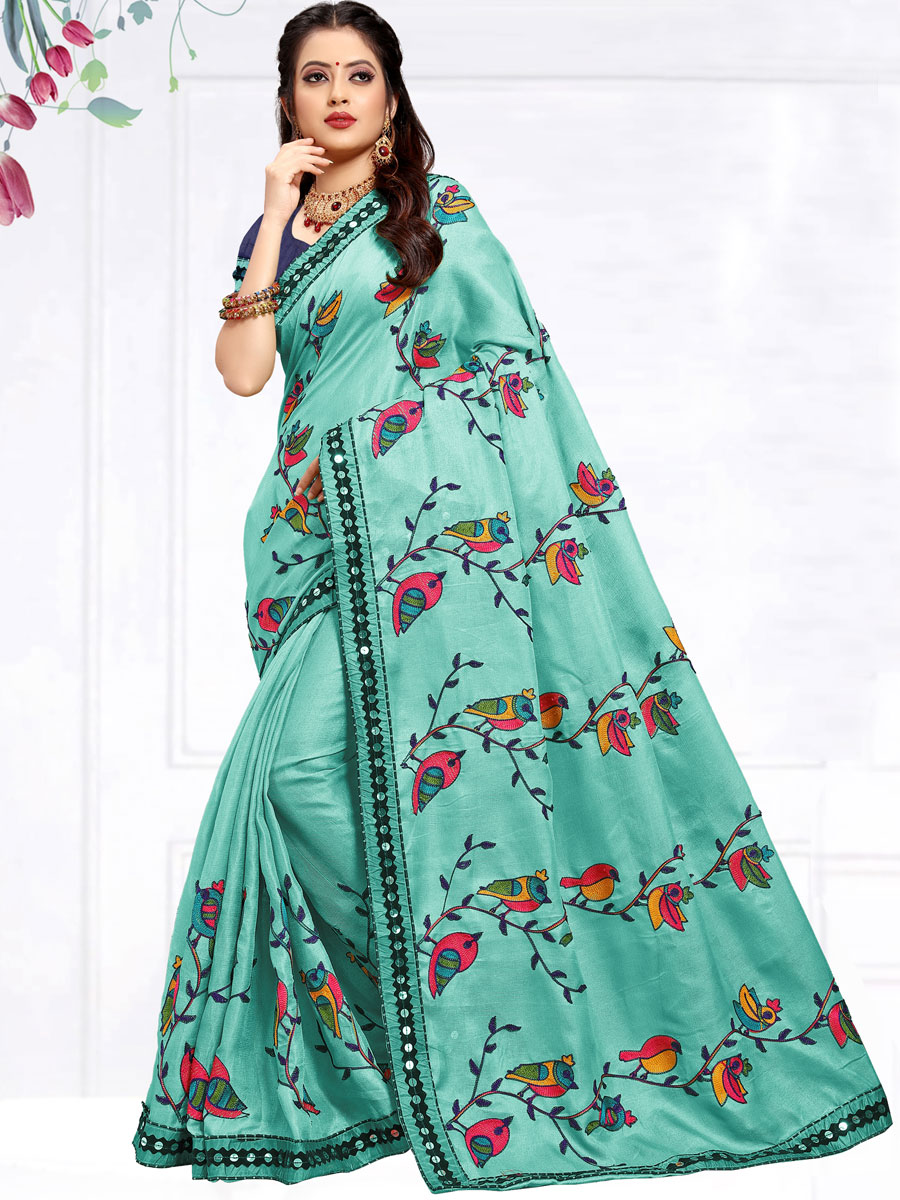 Turquoise Blue Cotton Silk Embroidered Party Saree