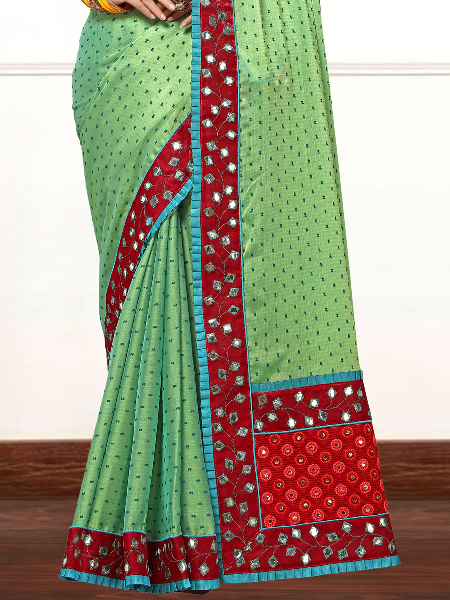 Parrot Green Faux Georgette Embroidered Party Saree