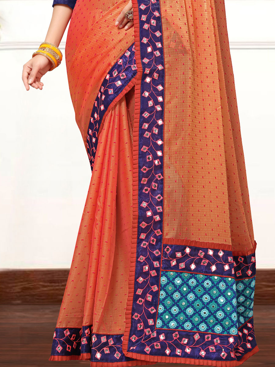 Coral Orange Faux Georgette Embroidered Party Saree