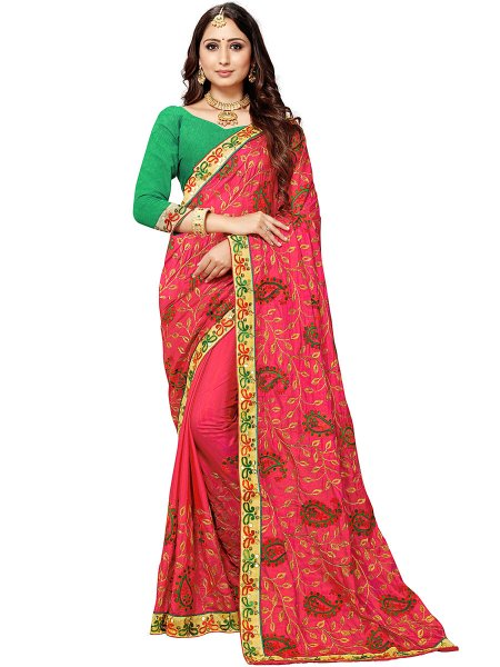 Carmine Pink Silk Embroidered Festival Saree