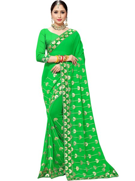 Lime Green Chiffon Embroidered Party Saree