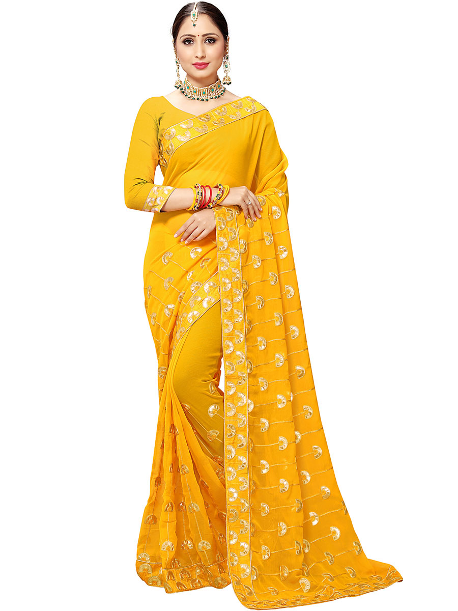 Saffron Yellow Chiffon Embroidered Party Saree