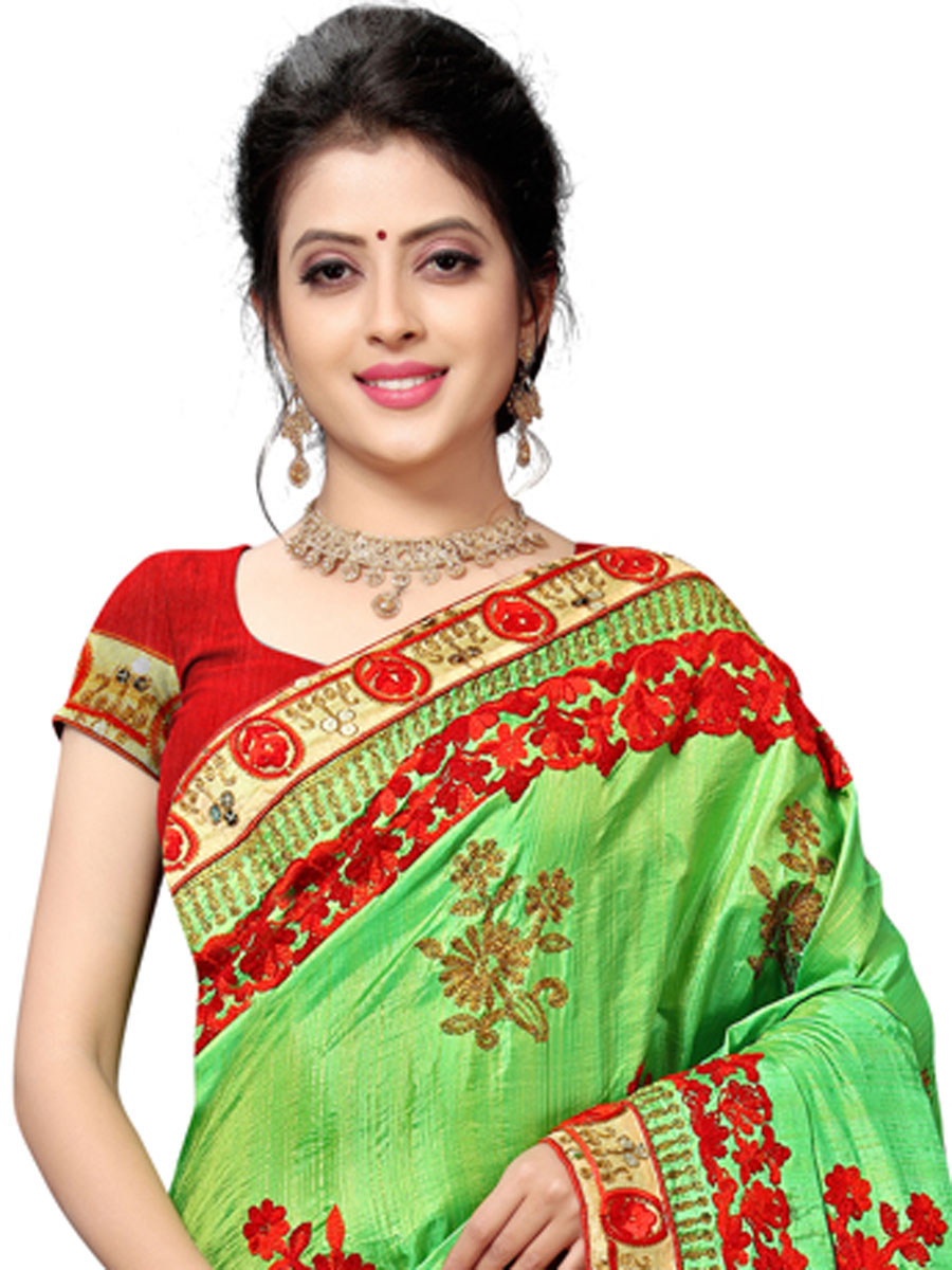 Lime Green Silk Embroidered Festival Saree