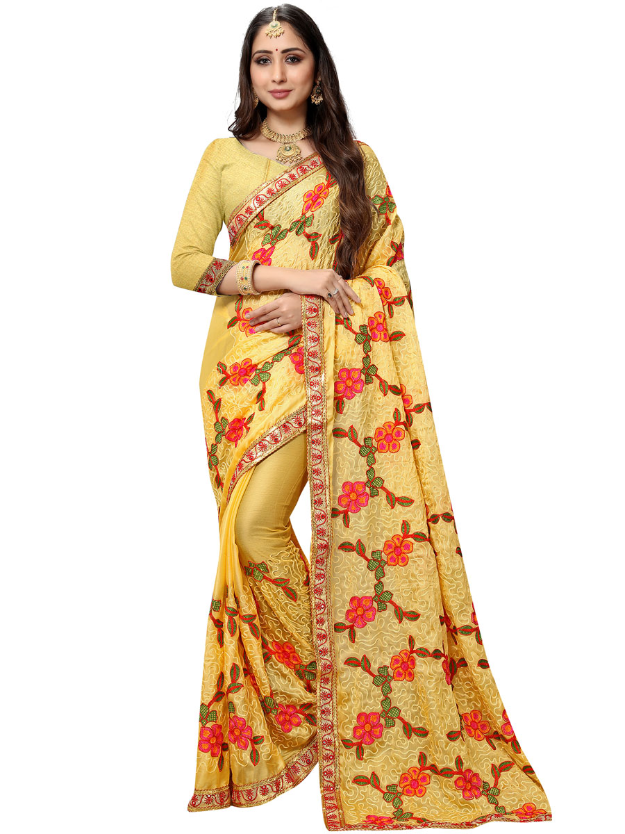 Flax Yellow Chiffon Embroidered Party Saree