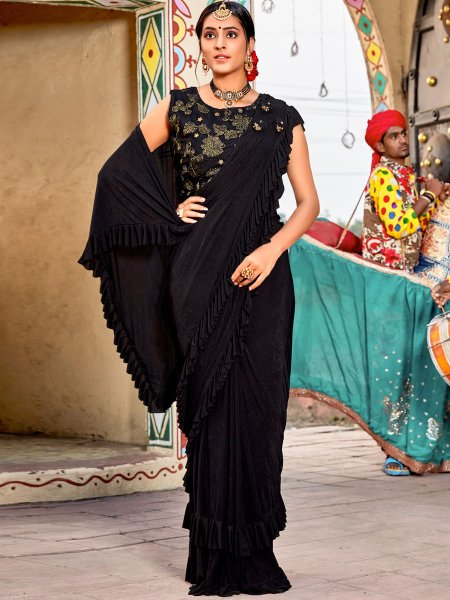 Black Imported Fabric Designer Festival Saree