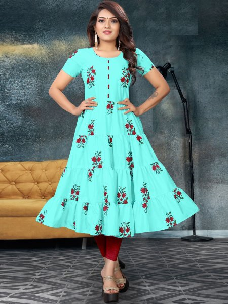 Sky Blue Cotton Printed Casual Kurti