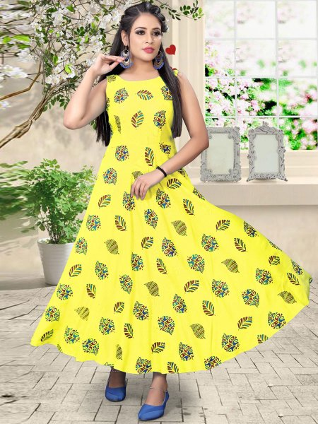 Maize Yellow Rayon Printed Casual Kurti