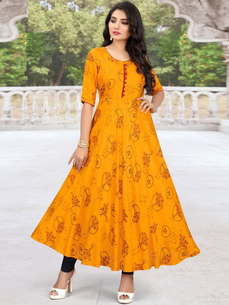 Amber Yellow Rayon Printed Casual Kurti