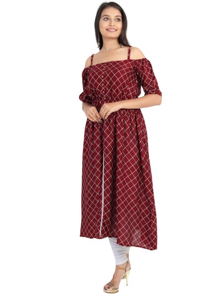 Maroon Rayon Printed Party Kurti