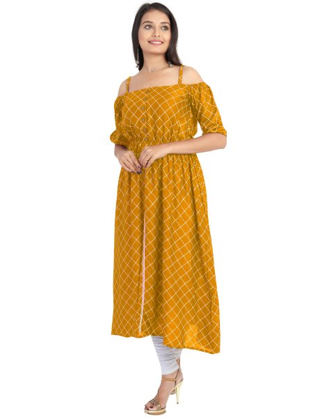 Mustard Yellow Rayon Printed Party Kurti