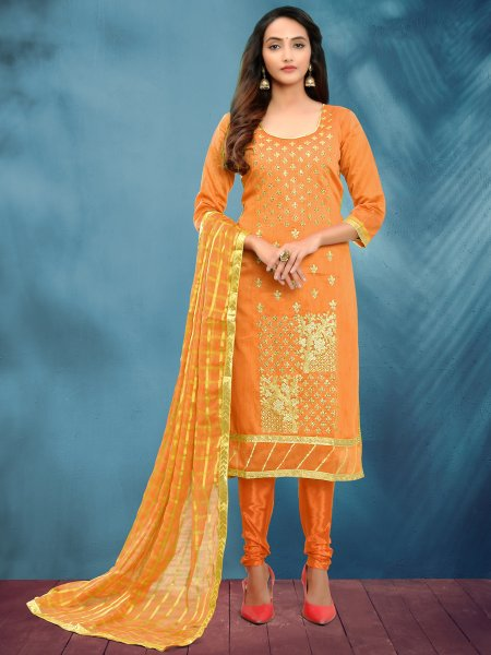 Mustard Yellow Cotton Silk Embroidered Festival Churidar Pant Kameez