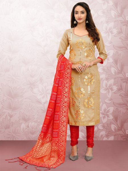 Beige Yellow Cotton Embroidered Party Churidar Pant Kameez