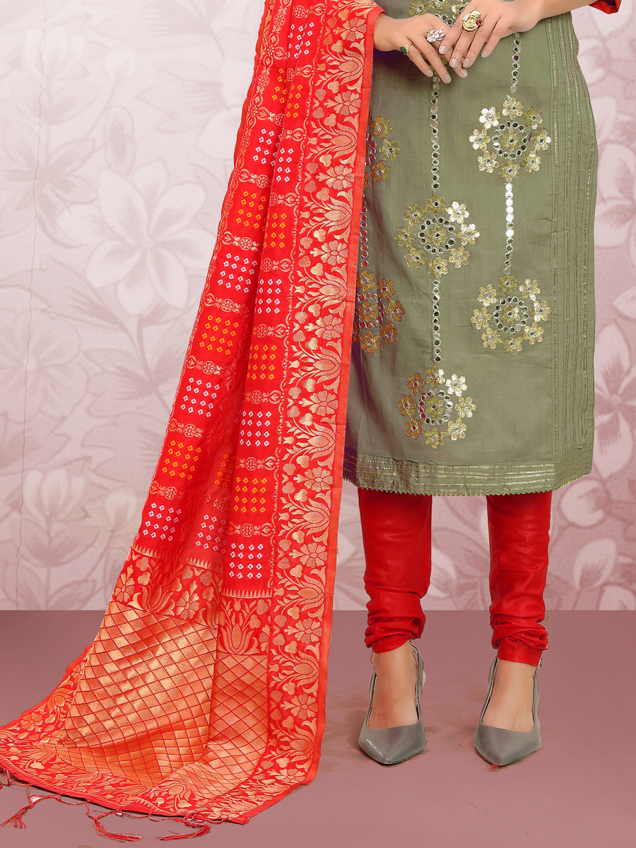 Camouflage Green Cotton Embroidered Party Churidar Pant Kameez