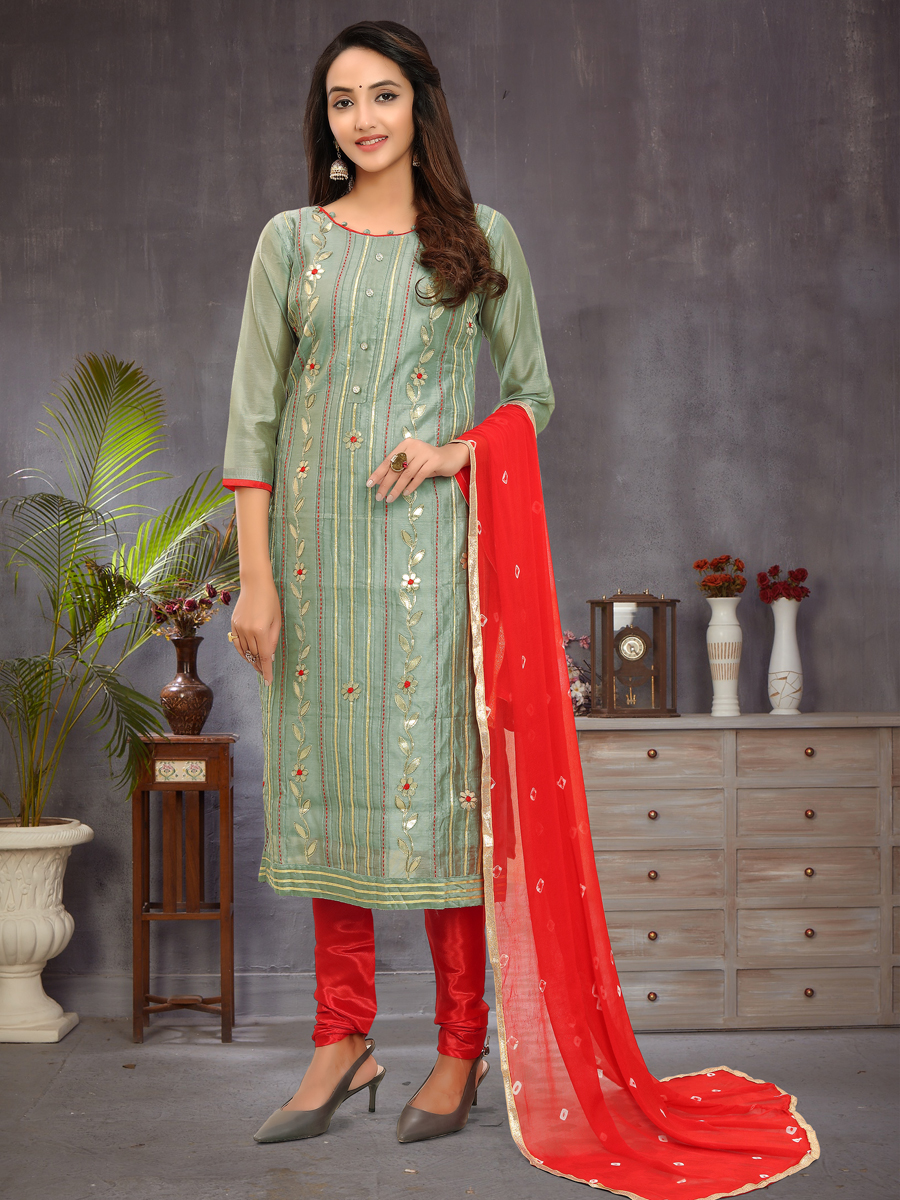 Light Camouflage Green Chanderi Embroidered Festival Churidar Pant Kameez
