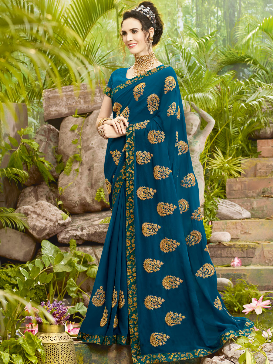 Teal Blue Rangoli Silk Embroidered Party Saree