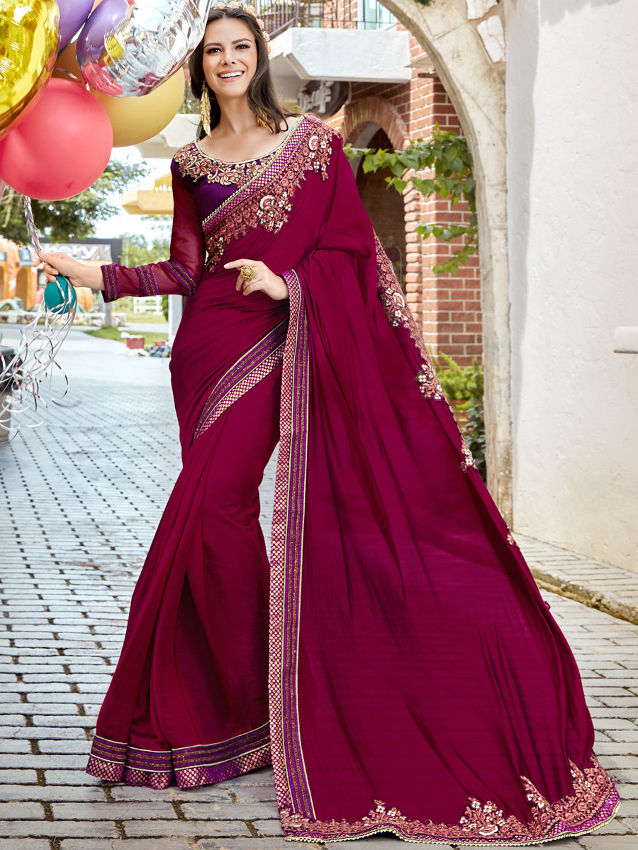 Byzantium Purple Faux Georgette Embroidered Party Saree