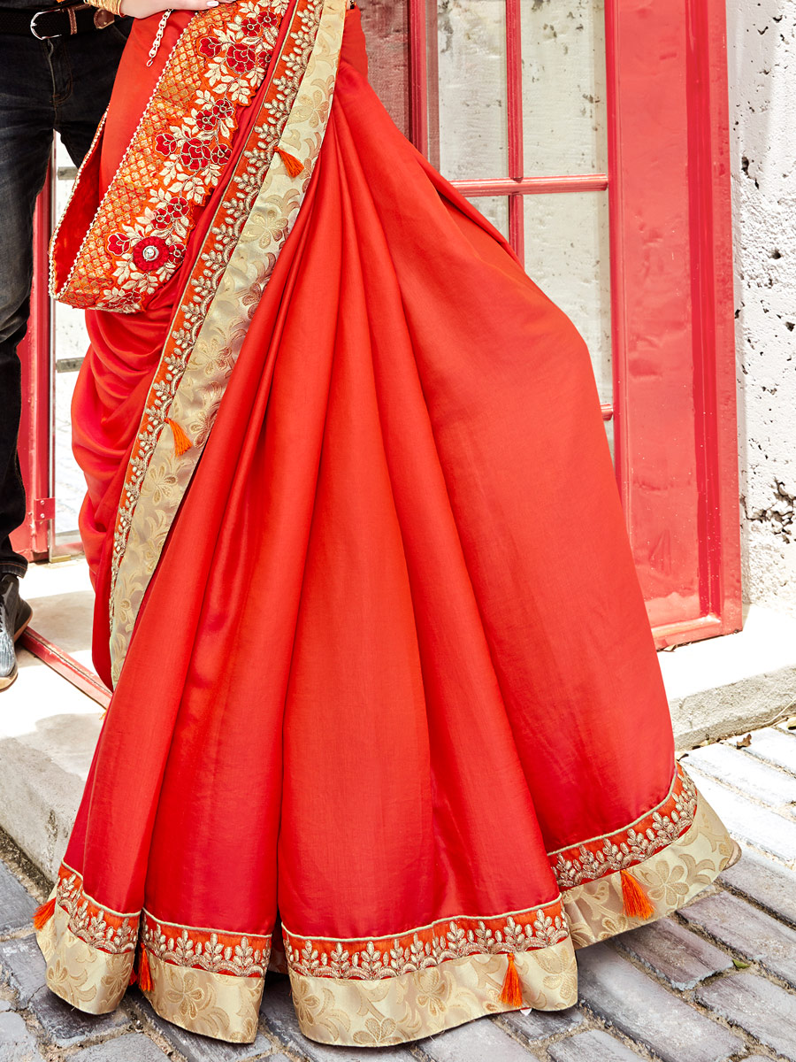 Coral Red Faux Georgette Embroidered Party Saree