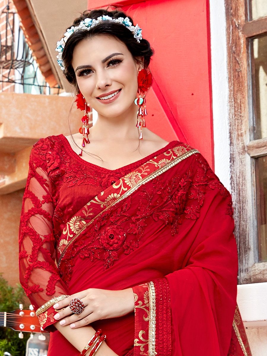 Venetian Red Faux Georgette Embroidered Party Saree
