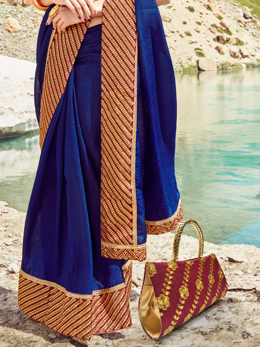 Navy Blue Silk Georgette Embroidered Party Saree