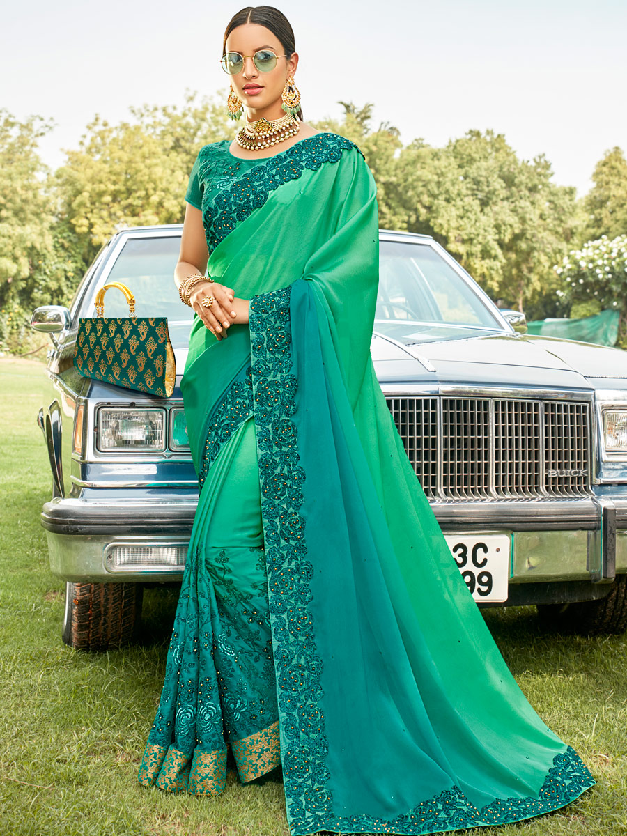 Jungle Green Faux Georgette Embroidered Party Saree