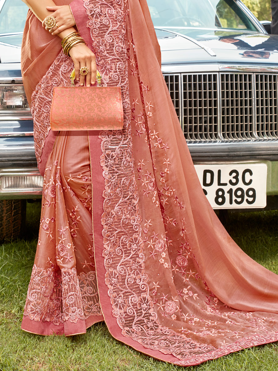 Coral Pink Faux Georgette Embroidered Party Saree