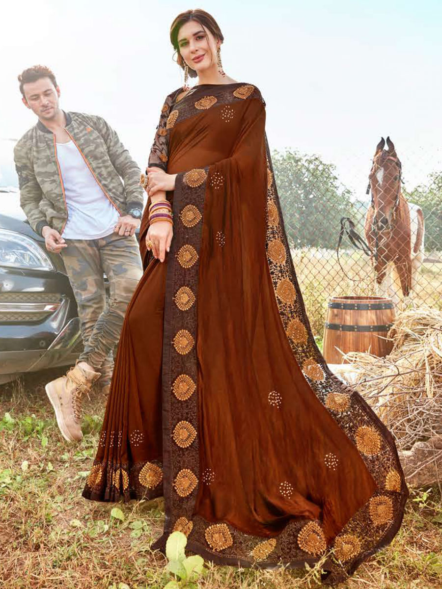 Chocolate Brown Faux Georgette Embroidered Party Saree