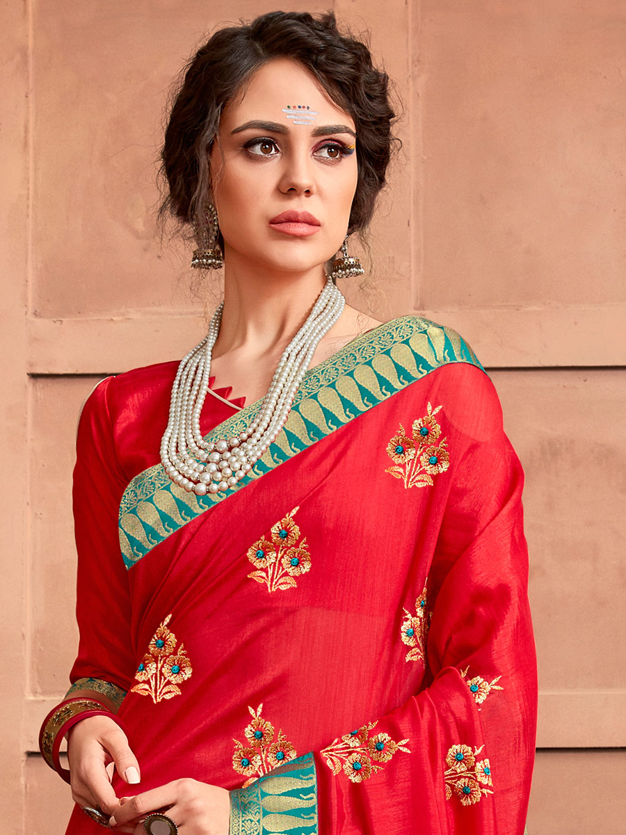 Rose Madder Red Silk Georgette Embroidered Party Saree