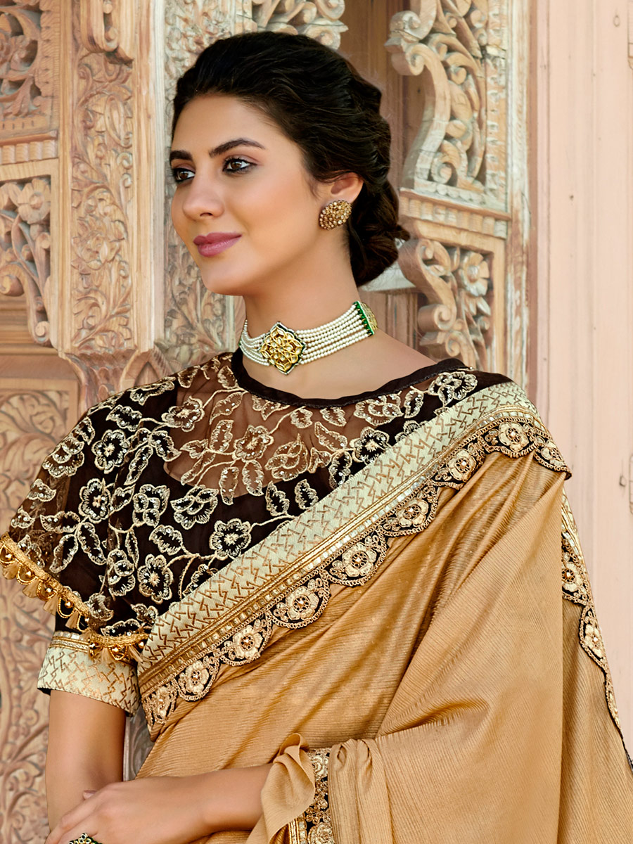 Copper Brown Imported Fabric Designer Party Saree