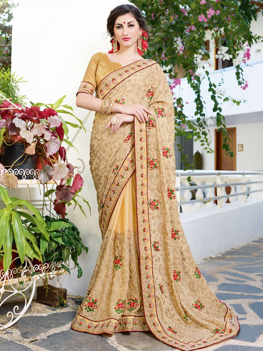 Cream Yellow Faux Georgette Embroidered Party Saree