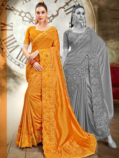 Amber Yellow Vichitra Silk Embroidered Party Saree