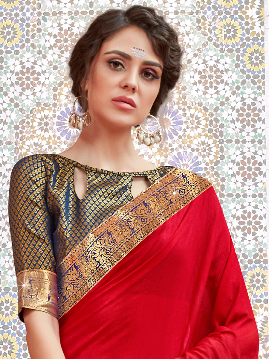 Rose Madder Red Faux Georgette Handwoven Casual Saree
