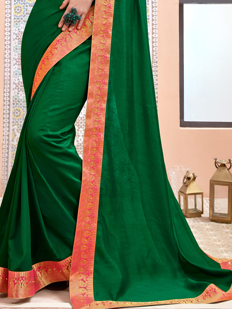 Hunter Green Faux Georgette Handwoven Casual Saree