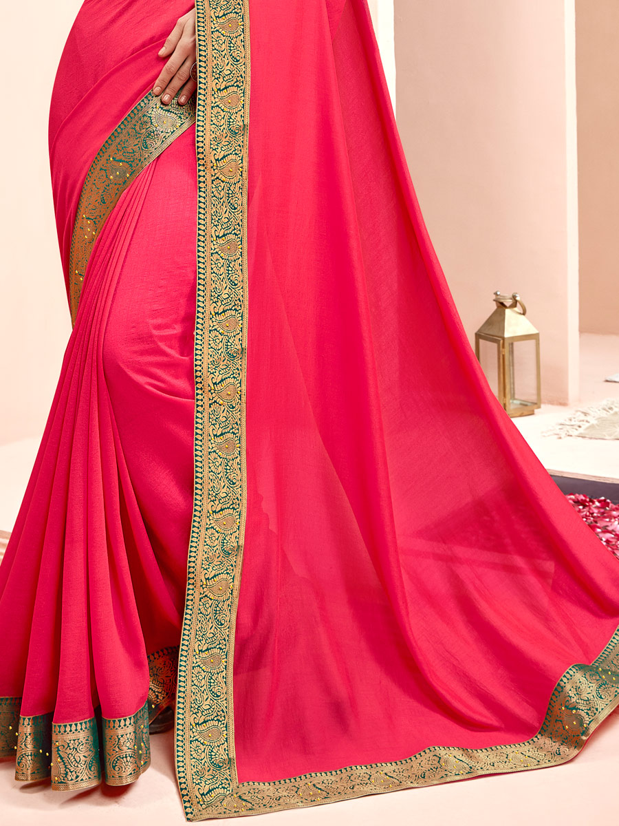 Dark Cerise Pink Faux Georgette Handwoven Casual Saree