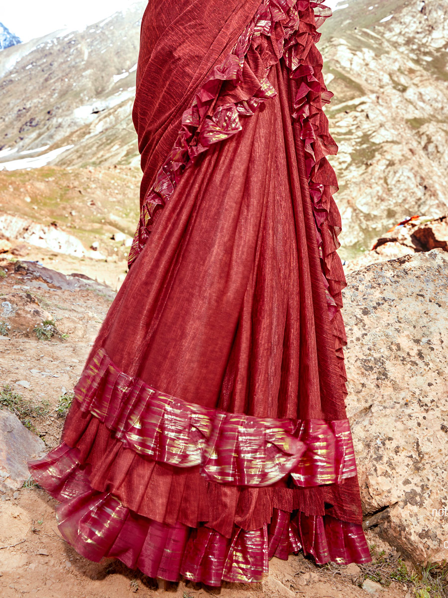 Maroon Imported Fabric Designer Party Saree