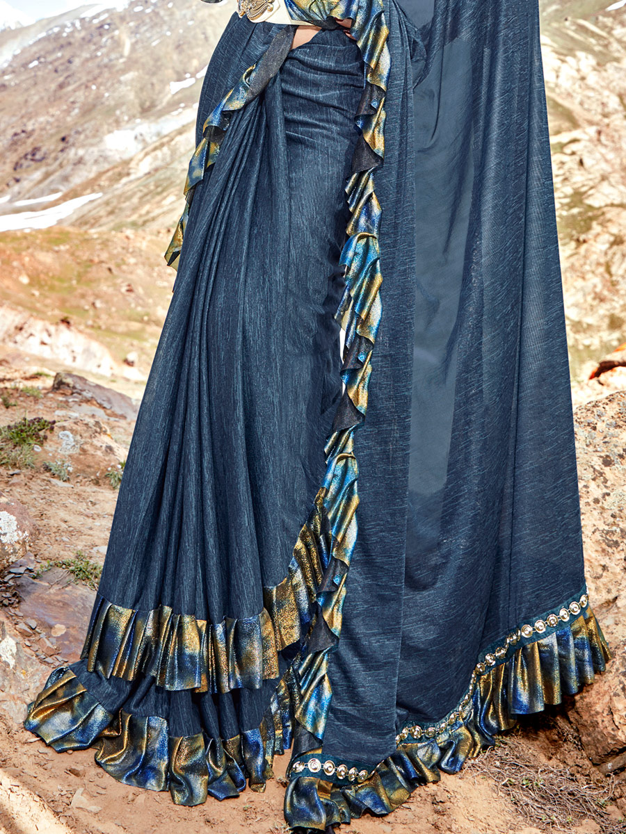 Yale Blue Imported Fabric Designer Party Saree