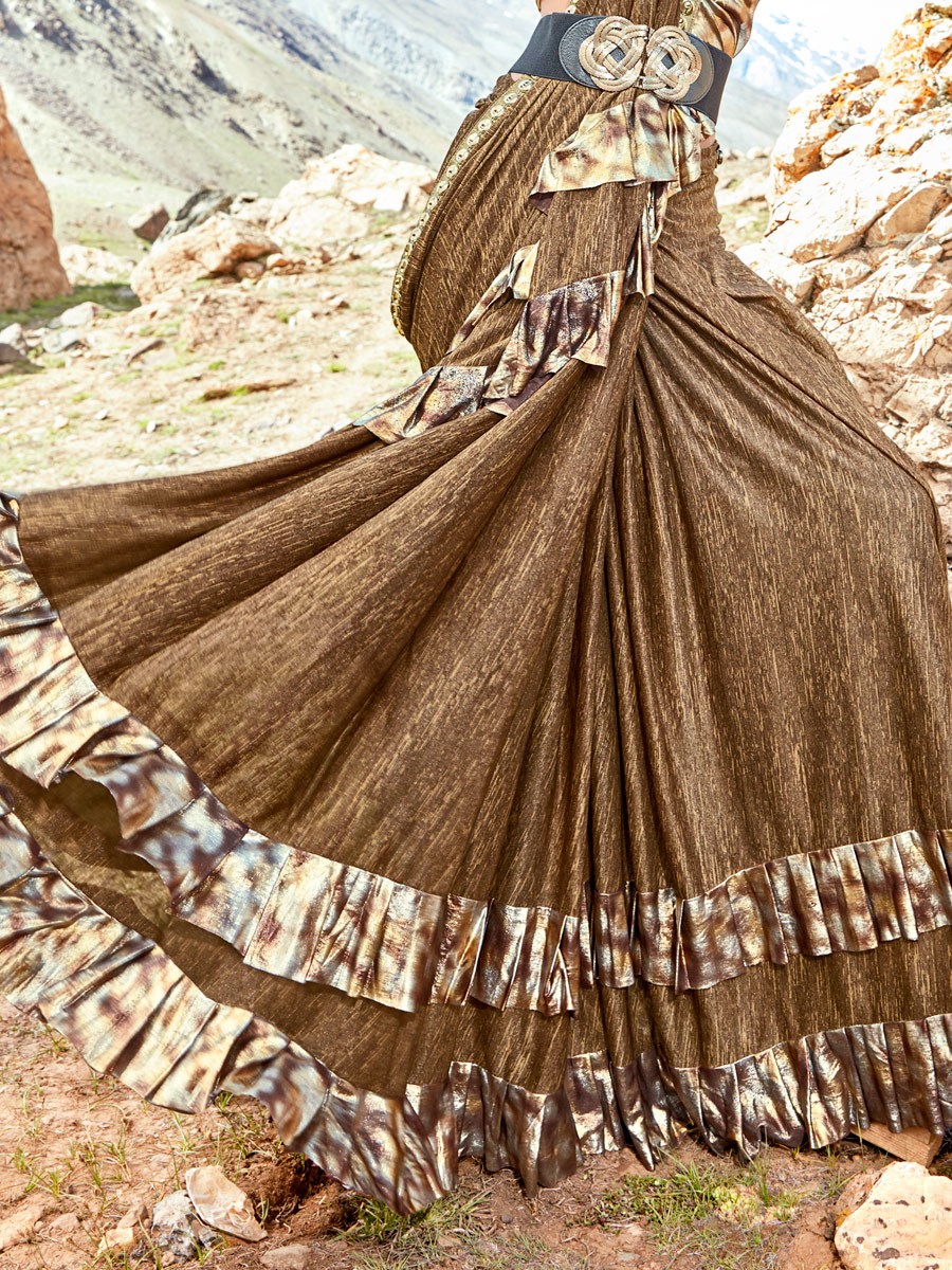 Russet Brown Imported Fabric Designer Party Saree