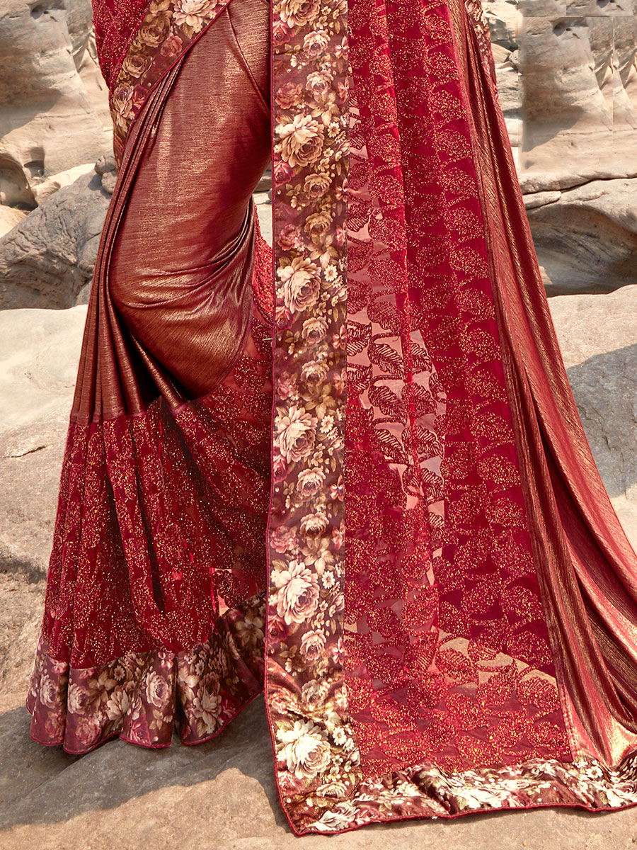 Maroon Imported Fabric Embroidered Party Saree