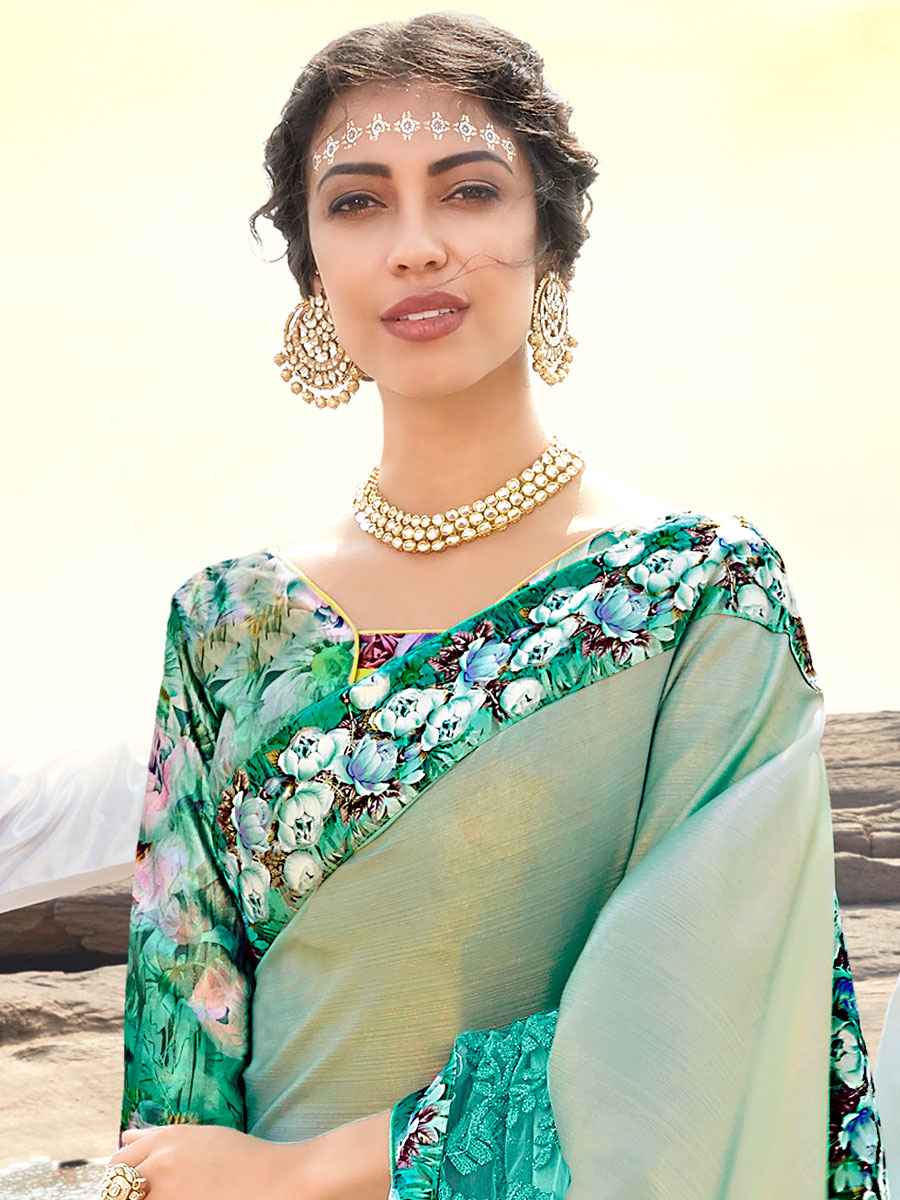 Jungle Green Imported Fabric Embroidered Party Saree