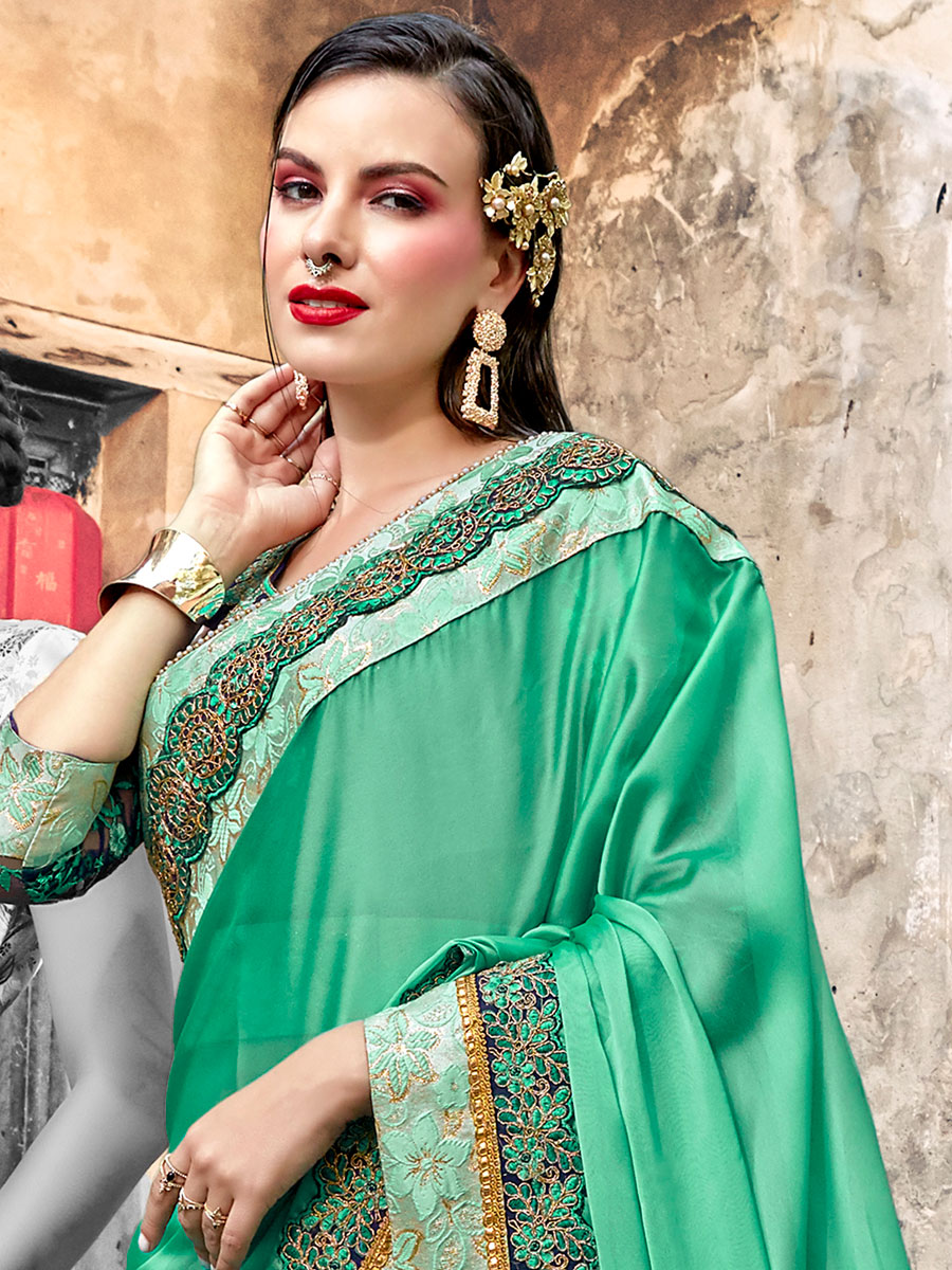 Jade Green Faux Georgette Embroidered Party Saree